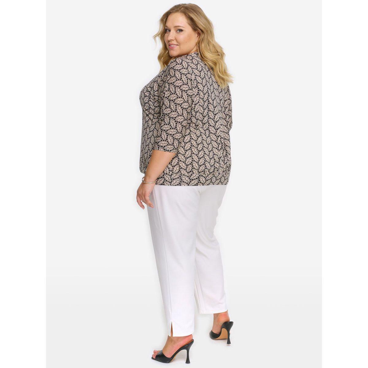 "Блуза с напуском из трикотажа, принт ""листочки"""
