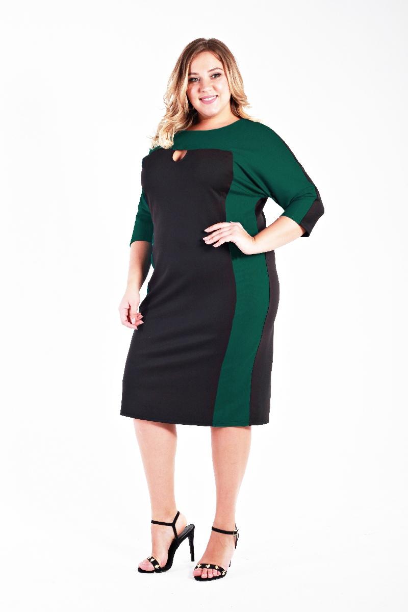 Платье прямое с фигурным вырезом, изумруд и черный