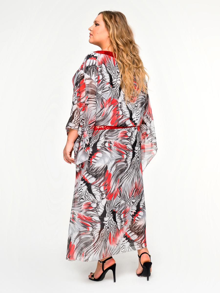 Платье вечернее из шифона, принт, пояс и горловина из пайеток