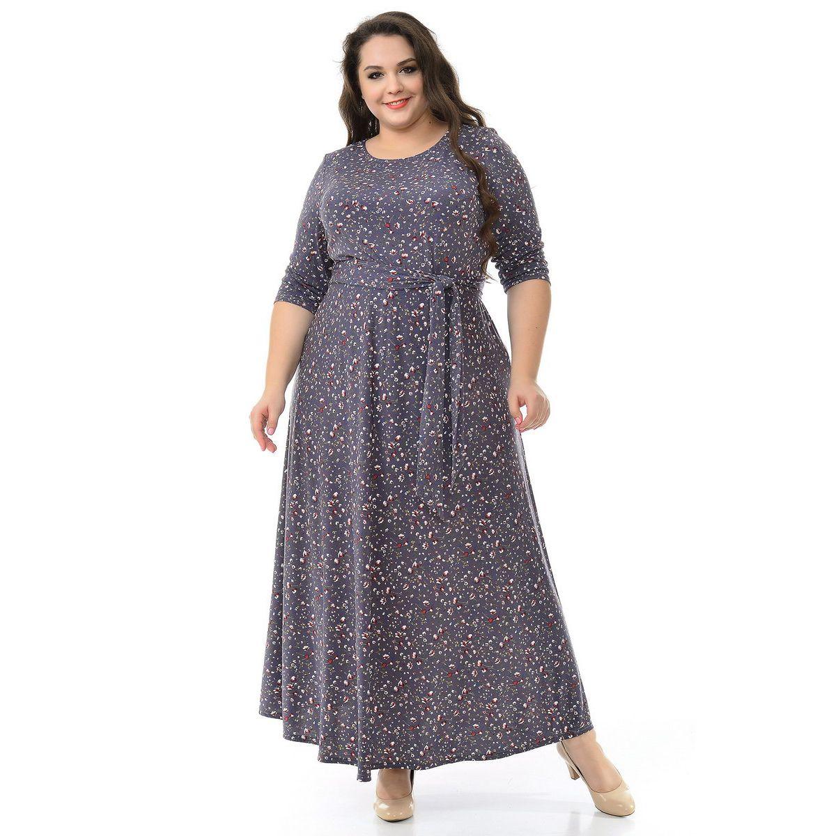 Платье в пол с рукавами 3/4, принт антрацитовый