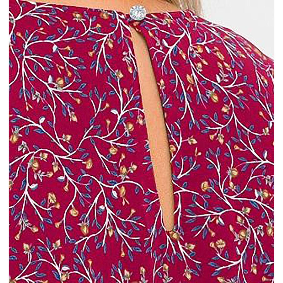 Платье длинное, с мягкими складками по горловине, шифон принт ягодный